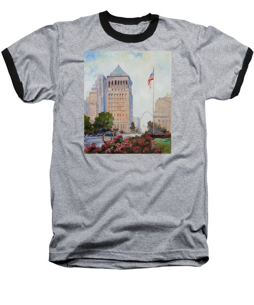 St. Louis Civil Court Building And Market Street Baseball T-Shirt by Irek Szelag