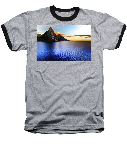 Baseball T-Shirt featuring the photograph St. Lucia's Cobalt Blues by Karen Wiles