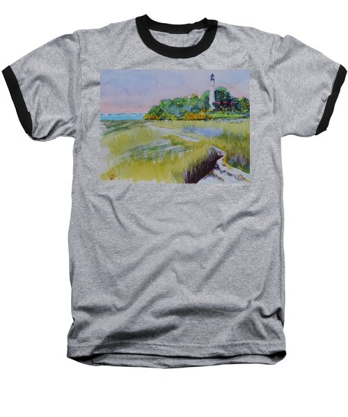 St. Marks Lighthouse Beachfront Baseball T-Shirt by Warren Thompson