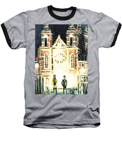 Baseball T-Shirt featuring the drawing St Nicolaaskerk Church by Linda Shackelford