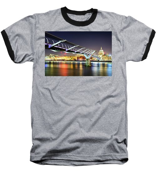 St Paul's Cathedral During Night From The Millennium Bridge Over River Thames, London, United Kingdom. Baseball T-Shirt