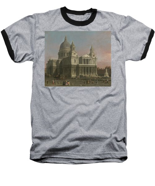 St. Paul's Cathedral Baseball T-Shirt by Giovanni Antonio Canaletto