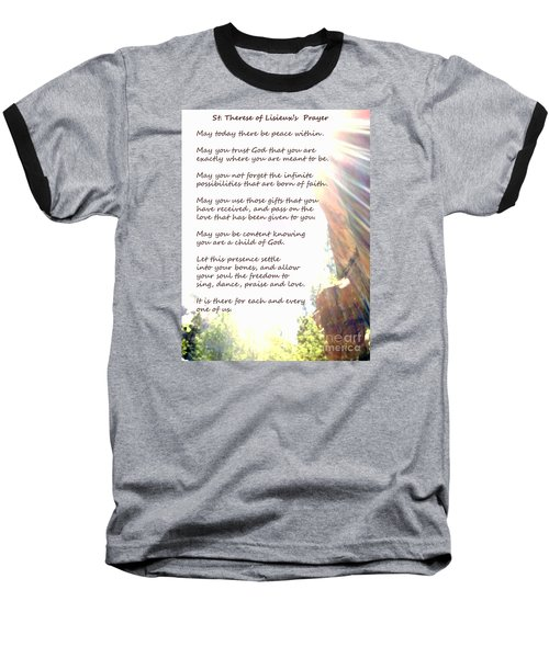 St Therese Of Lisieux Prayer And True Light Lower Emerald Pools Zion Baseball T-Shirt by Heather Kirk