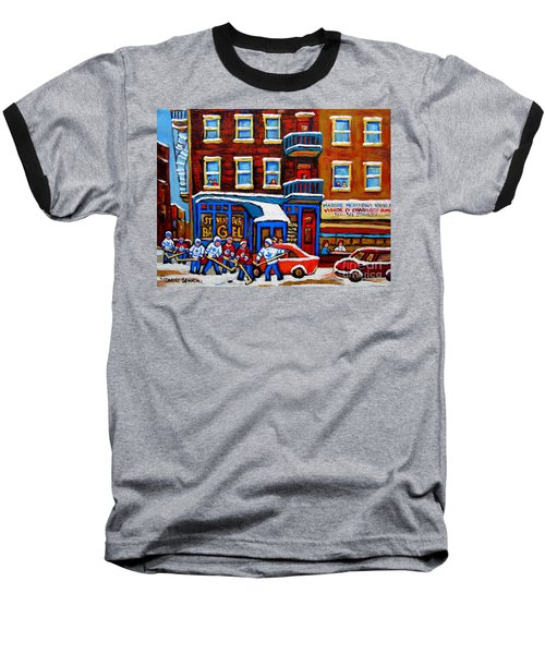 St Viateur Bagel With Hockey Montreal Winter Street Scene Baseball T-Shirt