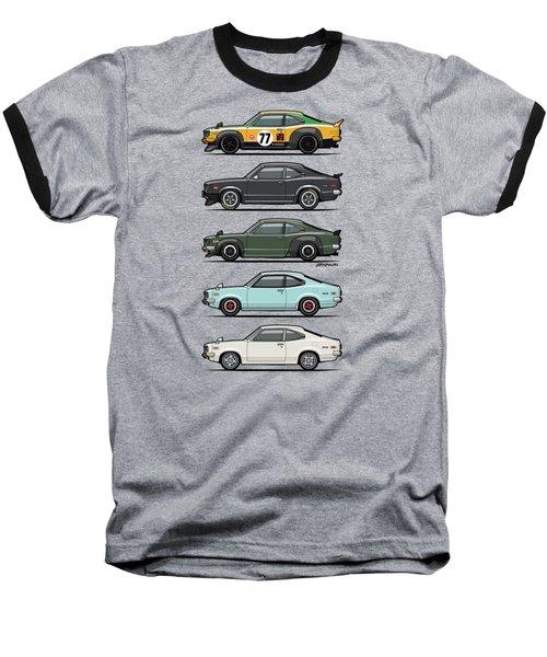 Stack Of Mazda Savanna Gt Rx-3 Coupes Baseball T-Shirt