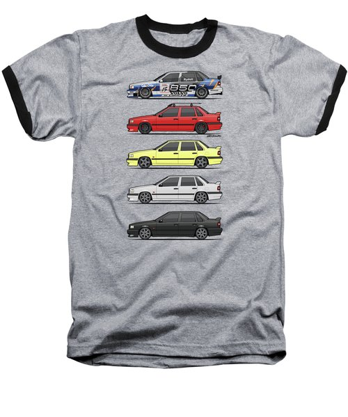 Stack Of Volvo 850r 854r T5 Turbo Saloon Sedans Baseball T-Shirt by Monkey Crisis On Mars