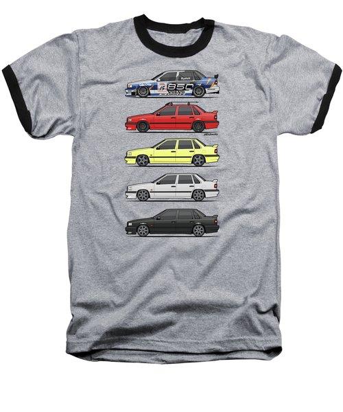 Stack Of Volvo 850r 854r T5 Turbo Saloon Sedans Baseball T-Shirt