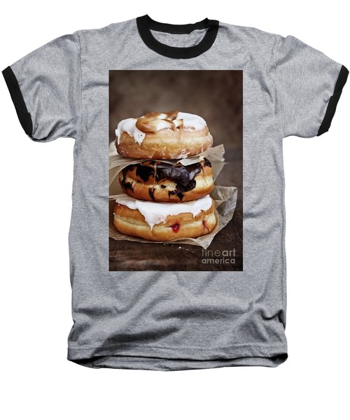 Stacked Donuts Baseball T-Shirt by Stephanie Frey