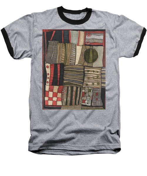 Stacked Shapes Baseball T-Shirt by Sandra Church