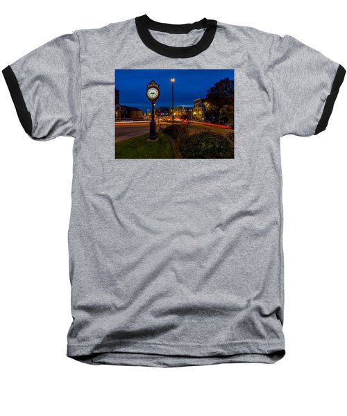 Stadium Clock During The Blue Hour Baseball T-Shirt by Rob Green