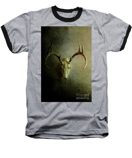 Baseball T-Shirt featuring the photograph Stag Skull by Stephanie Frey
