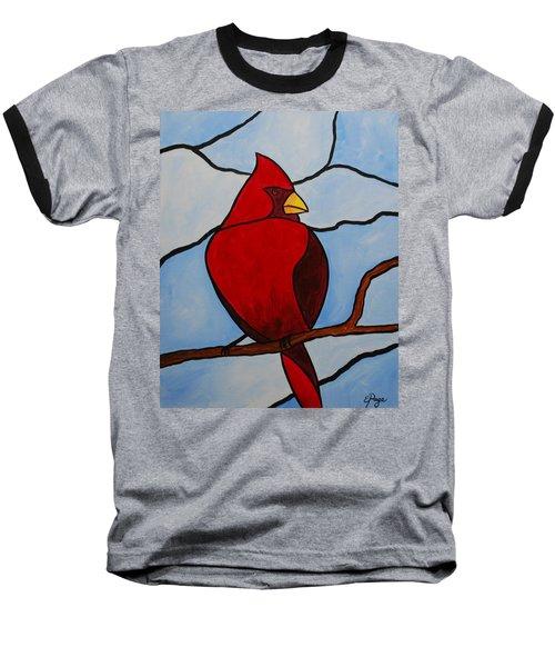 Stained Glass Cardinal Baseball T-Shirt