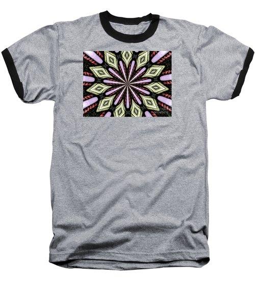 Stained Glass Kaleidoscope 25 Baseball T-Shirt by Rose Santuci-Sofranko