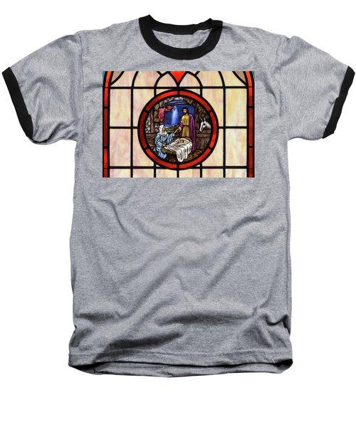 Stained Glass Nativity Window Baseball T-Shirt