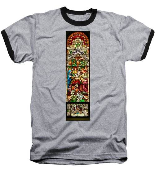 Baseball T-Shirt featuring the photograph Stained Glass Scene 1 - 3 by Adam Jewell