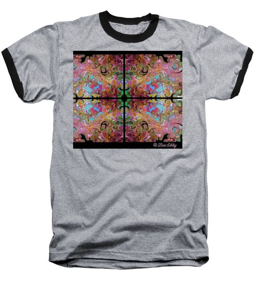 Stained Glass Window Baseball T-Shirt by Loxi Sibley