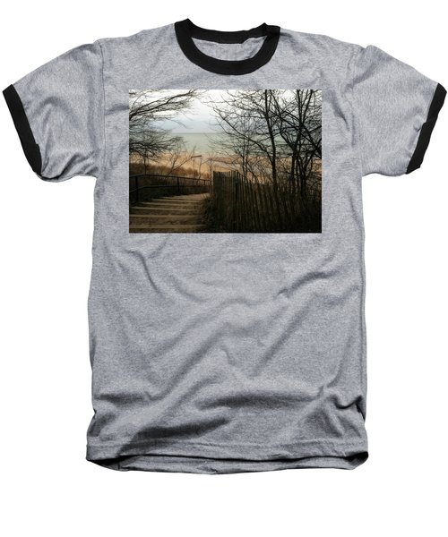 Baseball T-Shirt featuring the photograph Stairs To The Beach In Winter by Michelle Calkins