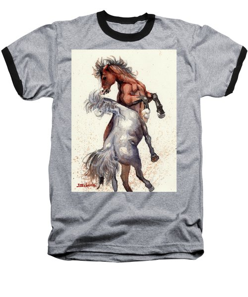 Baseball T-Shirt featuring the painting Stallion Showdown by Margaret Stockdale