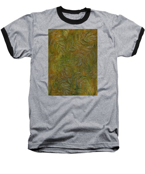 Stamped Textured Leaves Baseball T-Shirt
