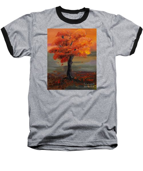 Stand Alone In Color - Autumn - Tree Baseball T-Shirt by Jan Dappen