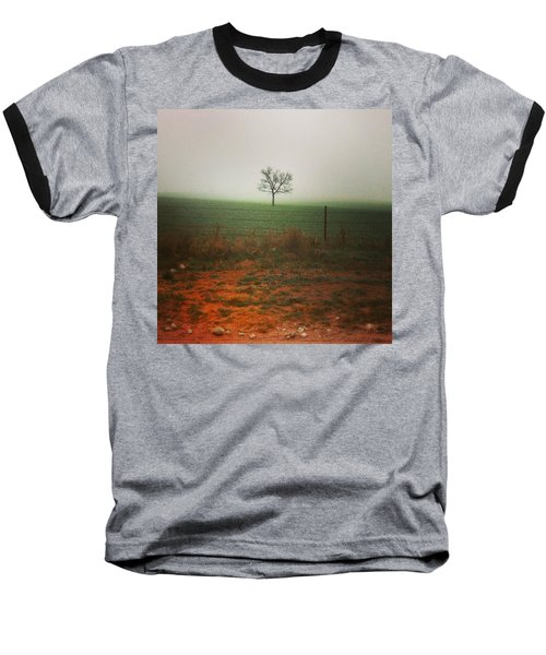 Baseball T-Shirt featuring the photograph Standing Alone, A Lone Tree In The Fog. by Shelli Fitzpatrick