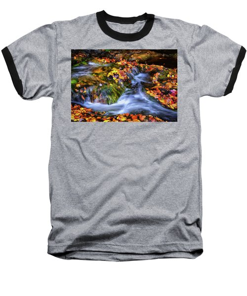 Standing In Motion - Leaves On A Rock 007 Baseball T-Shirt