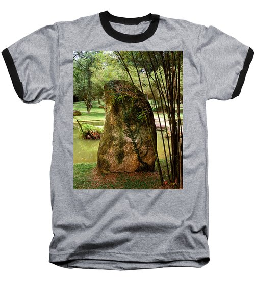 Baseball T-Shirt featuring the photograph Standing Stone With Fern And Bamboo 19a by Gerry Gantt