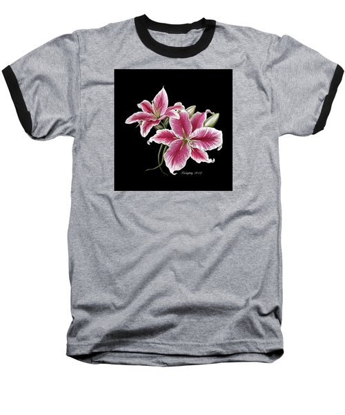 Star Gazer Lillies Baseball T-Shirt