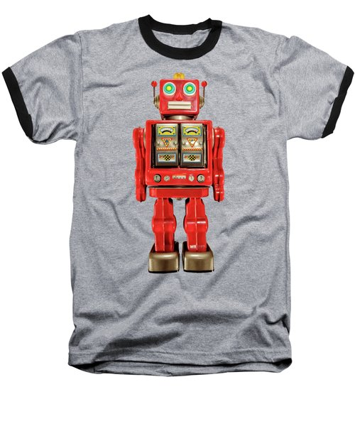 Star Strider Robot Red On Black Baseball T-Shirt by YoPedro