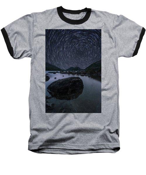 Star Trails Over Jordan Pond Baseball T-Shirt