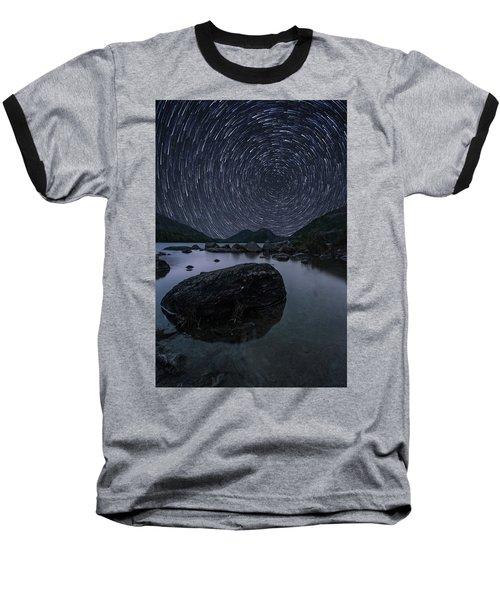 Star Trails Over Jordan Pond Baseball T-Shirt