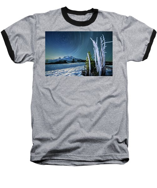 Baseball T-Shirt featuring the photograph Star Trails Over Mt. Hood by William Lee