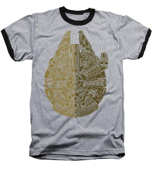 Star Wars Art - Millennium Falcon - Black, Brown Baseball T-Shirt by Studio Grafiikka