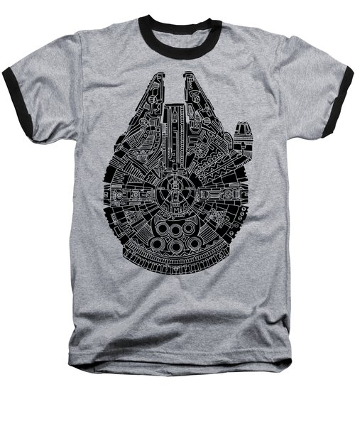 Star Wars Art - Millennium Falcon - Black Baseball T-Shirt by Studio Grafiikka