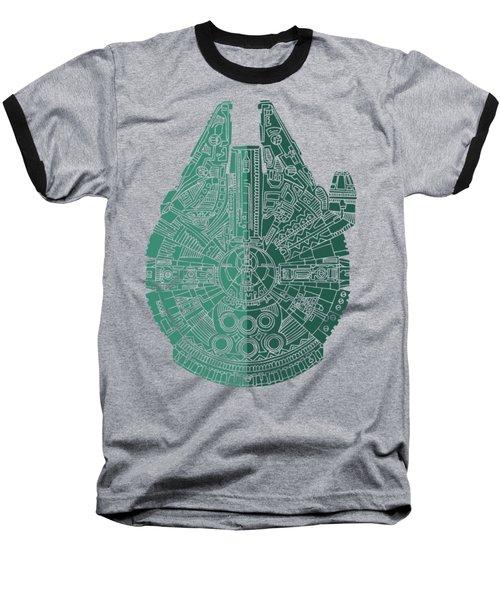 Star Wars Art - Millennium Falcon - Blue Green Baseball T-Shirt by Studio Grafiikka