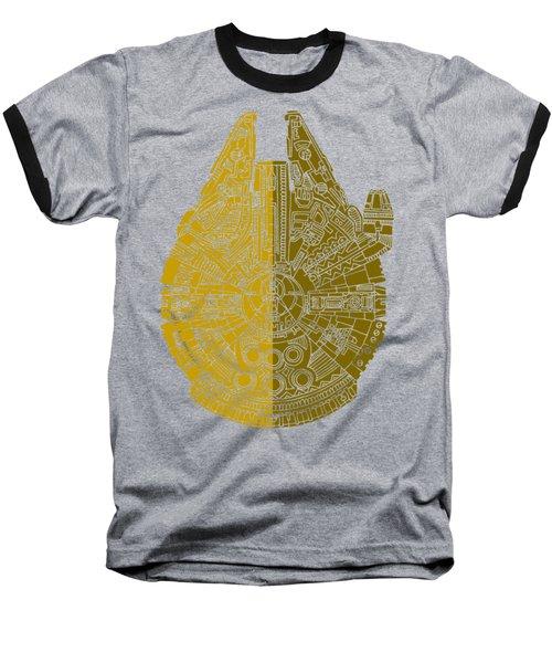 Star Wars Art - Millennium Falcon - Brown Baseball T-Shirt by Studio Grafiikka