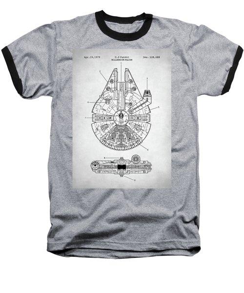 Star Wars Millennium Falcon Patent Baseball T-Shirt by Taylan Apukovska