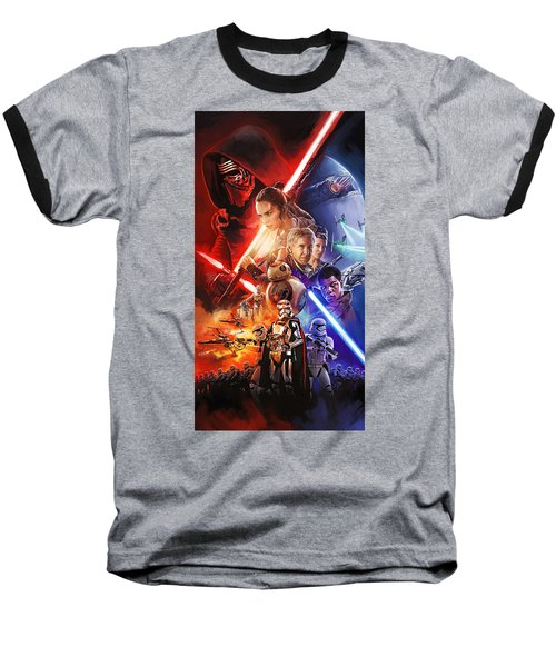 Baseball T-Shirt featuring the painting Star Wars The Force Awakens Artwork by Sheraz A