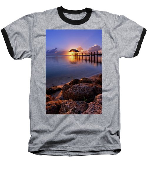 Starburst Sunset Over House Of Refuge Pier In Hutchinson Island At Jensen Beach, Fla Baseball T-Shirt by Justin Kelefas