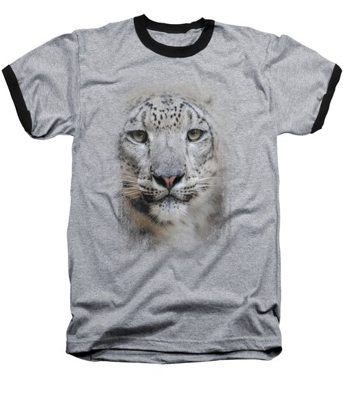 Stare Of The Snow Leopard Baseball T-Shirt by Jai Johnson