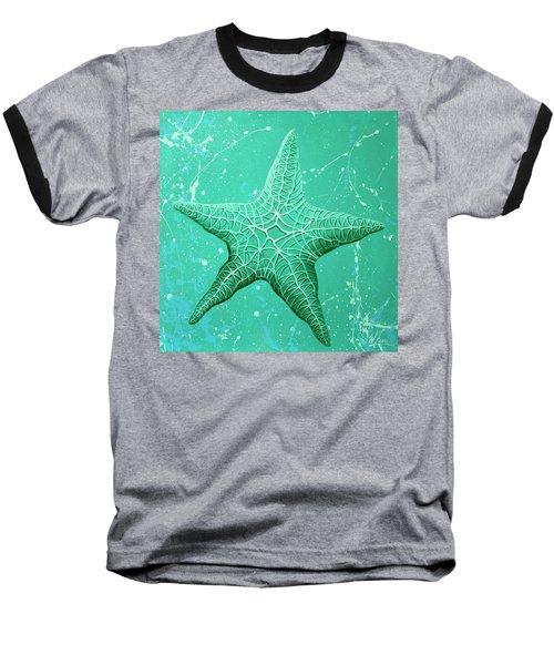 Starfish In Teal Baseball T-Shirt