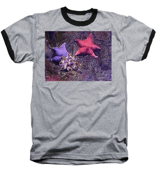 Baseball T-Shirt featuring the photograph Starfish Pink Starfish Blue by Richard W Linford