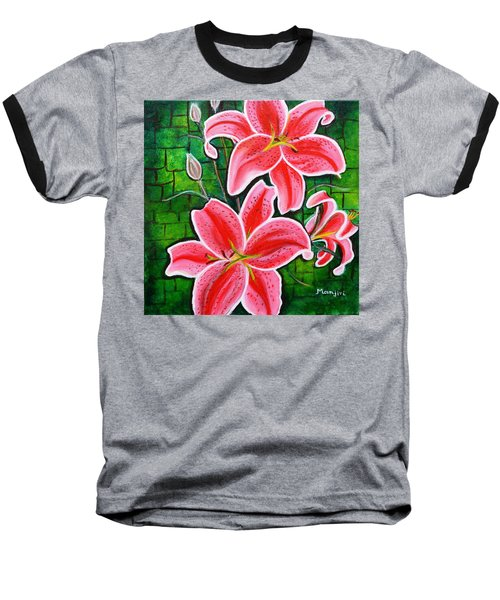 Stargazer Lilies Bold And Vibrant Floral Painting On Canvas Baseball T-Shirt