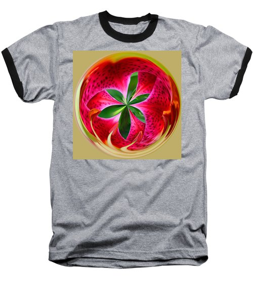 Stargazer Lily Orb Baseball T-Shirt by Bill Barber