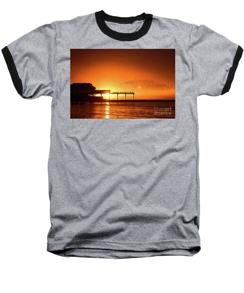 Starlings At Sunset Over Aberystwyth Pier Baseball T-Shirt