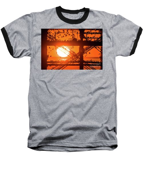Starlings At Sunset Under Aberystwyth Pier Baseball T-Shirt
