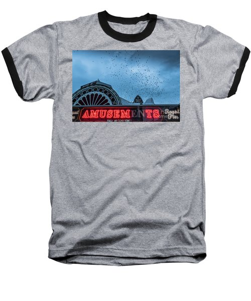 Starlings Over Aberystwyth Royal Pier Baseball T-Shirt