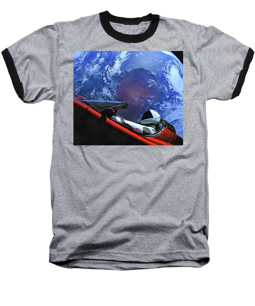 Starman In Tesla With Planet Earth Baseball T-Shirt