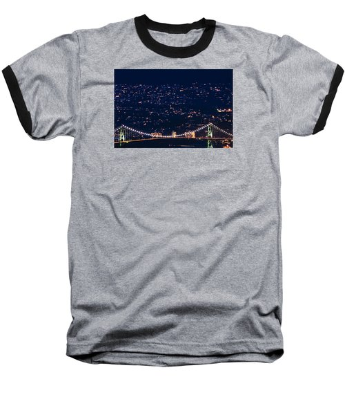 Baseball T-Shirt featuring the photograph Starry Lions Gate Bridge - Mdxxxii By Amyn Nasser by Amyn Nasser