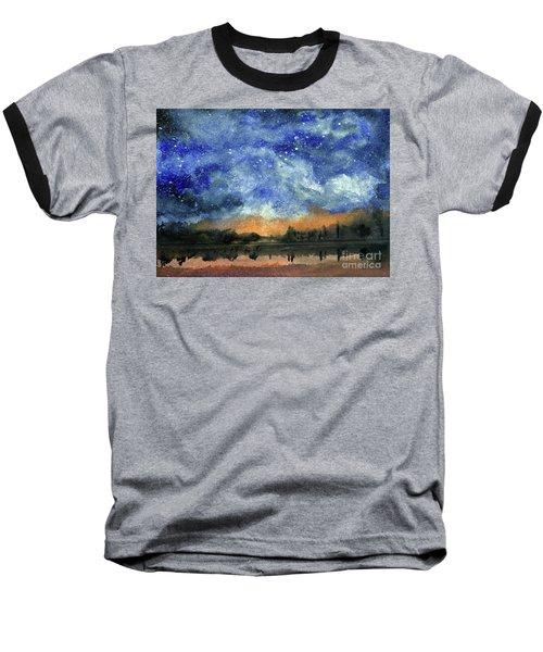 Starry Night Across Our Lake Baseball T-Shirt by Randy Sprout